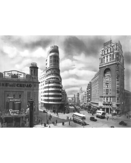 Cuadro Fotografico Madrid 1936 de Gran Via y Plaza de Callao Home