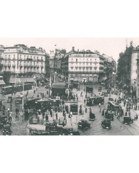 Cuadro Fotografico Antiguo Madrid 1920 de coches en Puerta del Sol 1920 Home