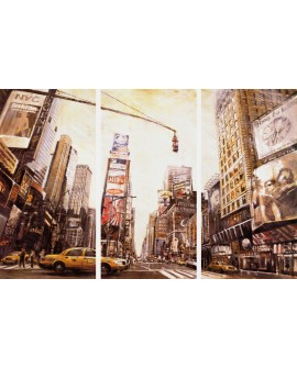 Triptico Gigante de New York Pintura Giclee Mural Panoramico Cuadros Horizontales