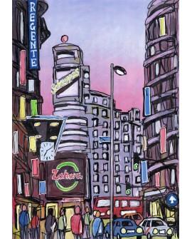 Alcala : Capitol en Gran Via. Madrid ciudad de dia. Cuadro Comic  Moderno