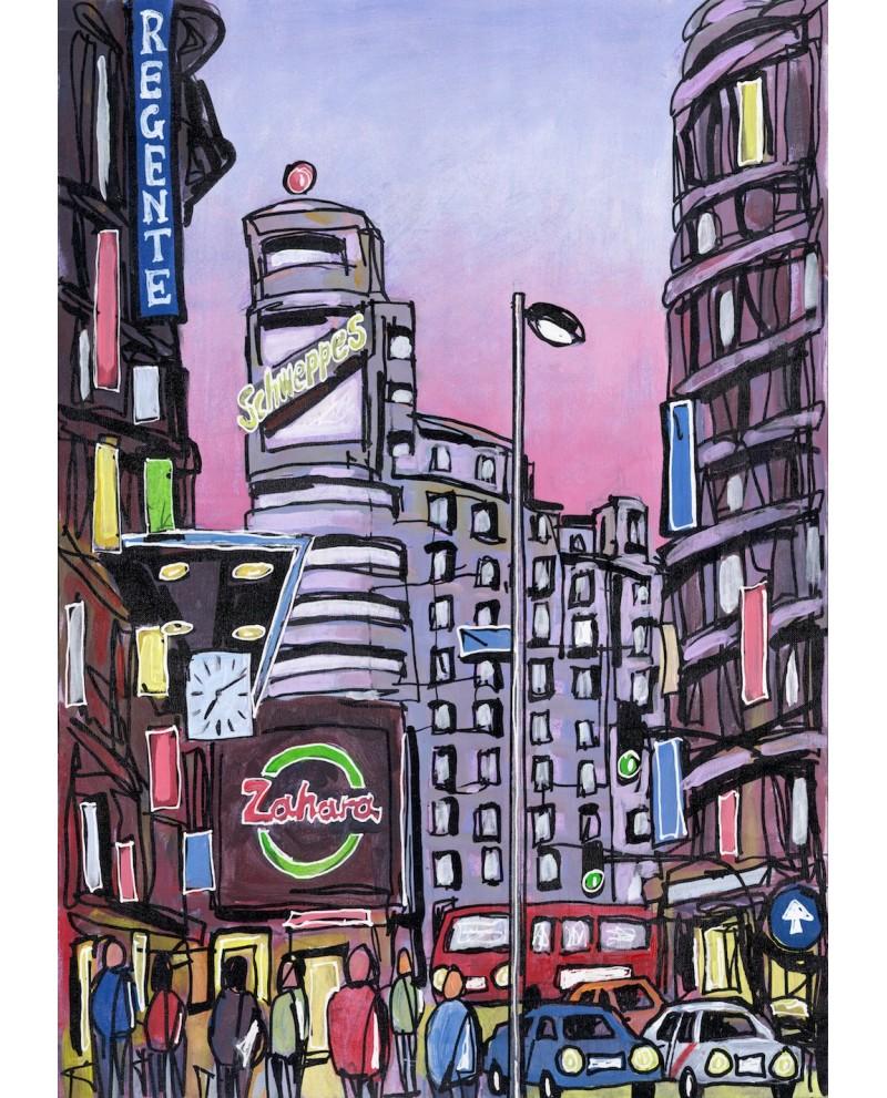 Alcala capitol en gran via madrid ciudad de dia cuadro for Cuadros horizontales modernos