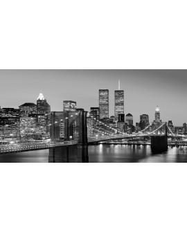 Cuadro Panoramico New York BN Torres Gemelas y Puente de Brooklin Cuadros Horizontales