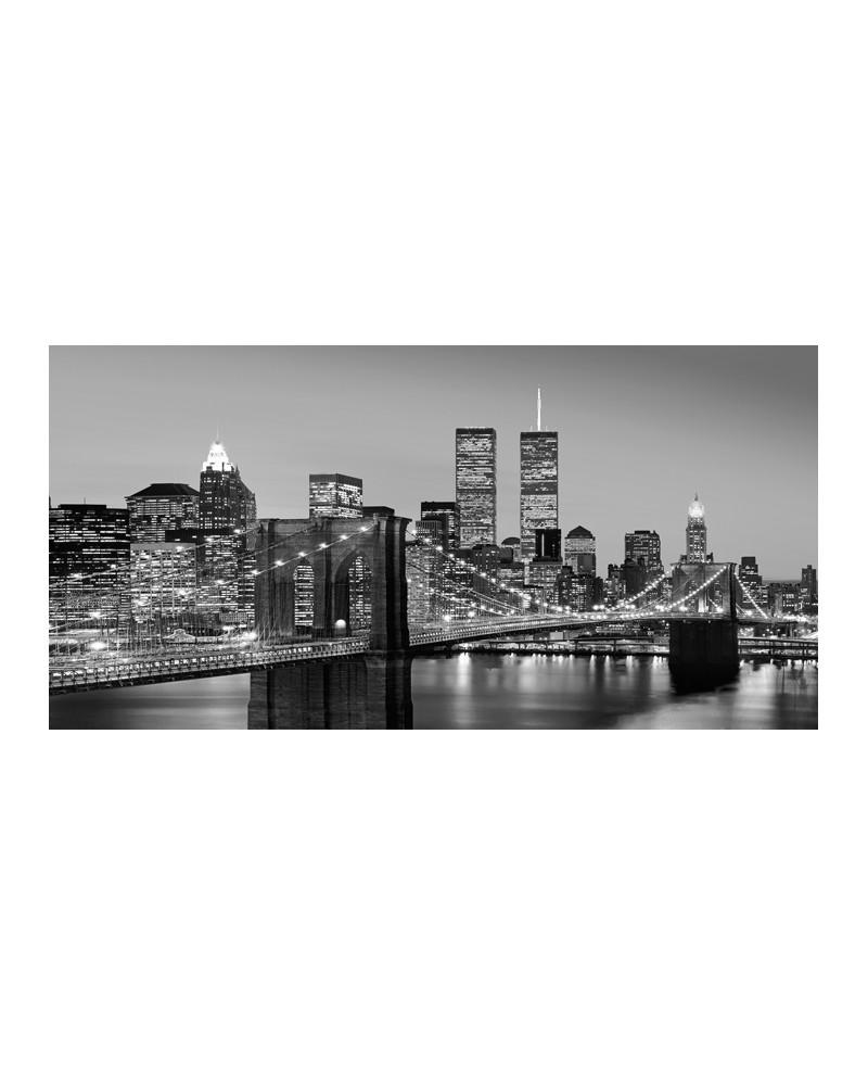 Cuadro Panoramico New York BN Torres Gemelas y Puente de Brooklin