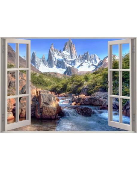 Paisaje Trampantojo de Rio y montaña tras Ventana Mural Fantasia Home