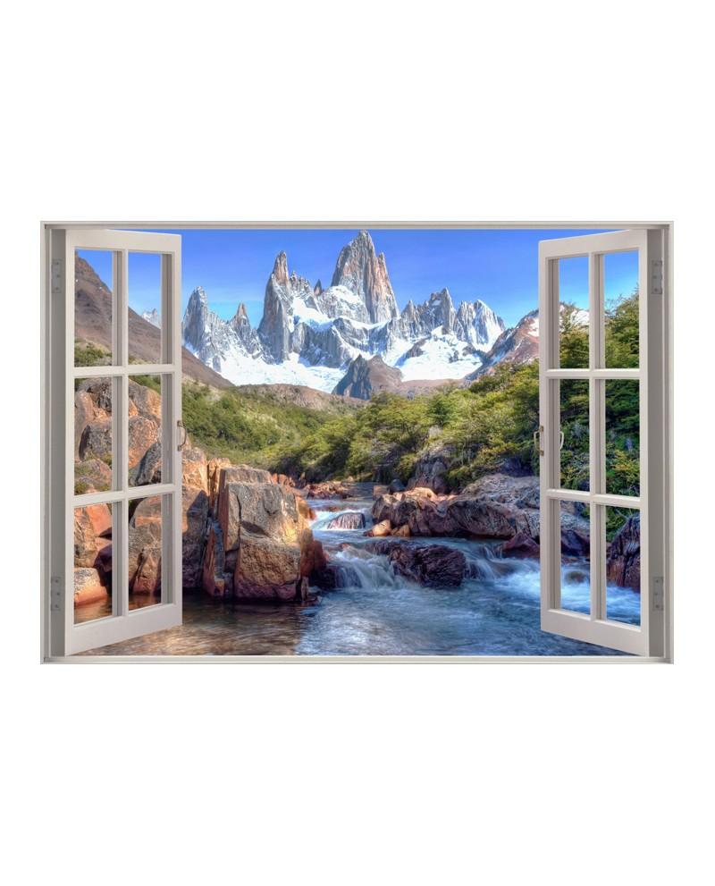 Paisaje Trampantojo de Rio y montaña tras Ventana Mural Fantasia Pa...