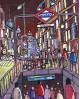 Alcala: Metro en Gran Via. Madrid ciudad de noche. Cuadro Comic Urbano Moderno Home