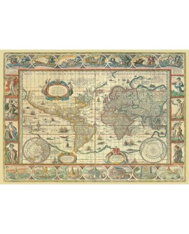 Mapa Mundi con orla calendario Mural cuadro clasico en Cartel Tablero Home