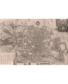 MAPA TEXERIA Madrid 1656 Cuadro Cartel Historico Sepia en madera Home