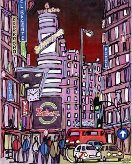 Alcala: Capitol en Gran Via. Madrid ciudad de noche. Cuadro Comic Moderno Home