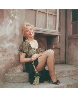 Marilyn monroe en bus Stop con medias de rejilla Cuadro Cuadrado mural Home