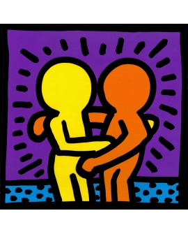 Keith Haring me alegro verte Cuadro Graffiti Mural Cuadrado reproduccion