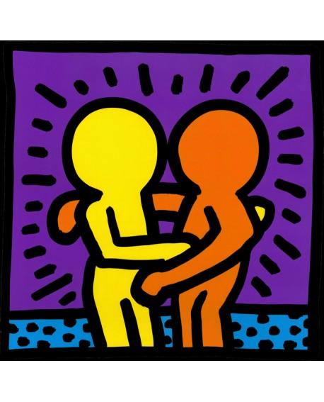 Keith Haring me alegro verte Cuadro Graffiti Mural Cuadrado reproduccion Home