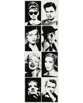 Estrellas de Hollywood Recopilatorio Pop Art Friso vertical en tinta Home