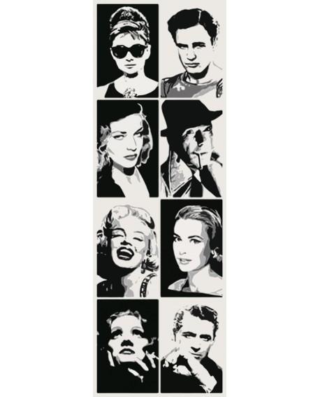 Estrellas de Hollywood Recopilatorio Pop Art Friso vertical en tinta Home