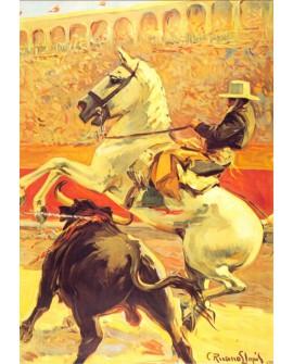 TAURINO REJONEO EN MADRID Cuadro Cartel de caballo y toro Generico Home