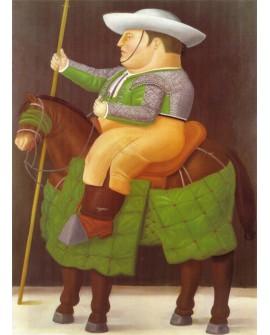 Botero el Picador en caballo cuadro Naif Arte Latino de Colombia