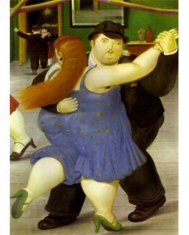Botero Los bailarines azul. Pintura latina de Colombia Reproduccion Giclee
