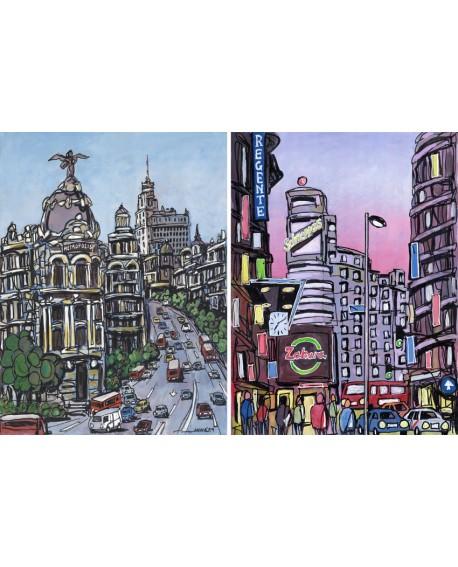 Jose Alcala Conjunto Cuadros Pareja Diptico Comic Gran Via Madrid Home