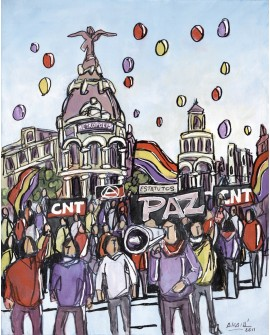 Alcala: Republicanos en Gran Via. Madrid de fiesta. Cuadro Comic Moderno
