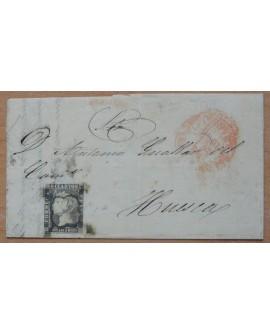 España 1850 1A Carta Completa de Zaragoza a Huesca con Doble Matasello Home