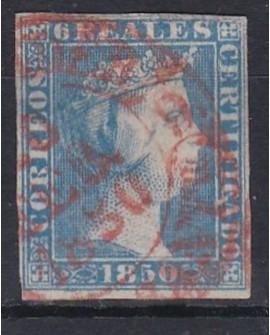 España 1850  Isabel II 6 reales azul  Edifil nº 4 Dictamen de la Comision CMF