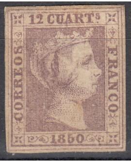 España 1850 Isabel II, 12 cu lila NUEVO Dictamen por COMISION CMF Edifil Nº 2 Home