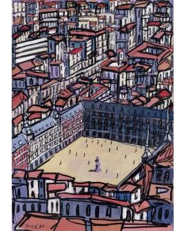 Alcala : Plaza Mayor. Aerea de Madrid. Cuadro Comic. Pintura Moderna