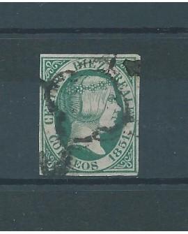 España 1851 Sello 10 Reales de Isabel II Edifil nº 10 Certificado COMISION CMF