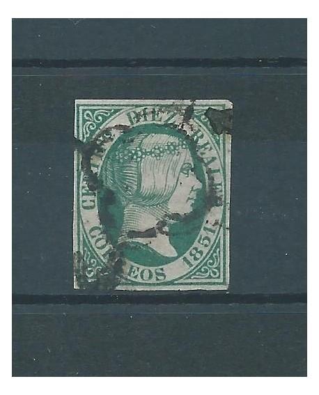 España 1851 Sello 10 Reales de Isabel II Edifil nº 10 Certificado COMISION CMF Home