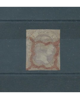 España 1851 Sello 12 Cuartos de Isabel II Nº 7 con Dictamen CMF Araña Roja Home