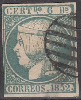 España 1852 Isabel II 6 r azul verdoso Edifil Nº 16 con Dictamen Comision CMF
