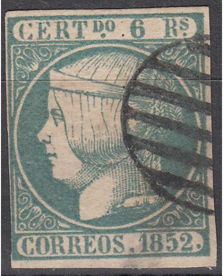 España 1852 Isabel II 6 r azul verdoso Edifil Nº 16 con Dictamen Comision CMF Home
