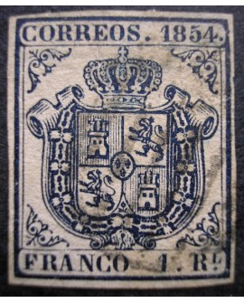 España 1854 Escudo de España 2 cu verde y 1r azul 32/34 con dictamen Home