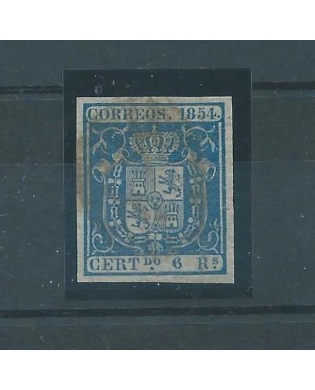 España 1854 Escudo de España Edifil nº 27 Certificado de Comision CMF Home