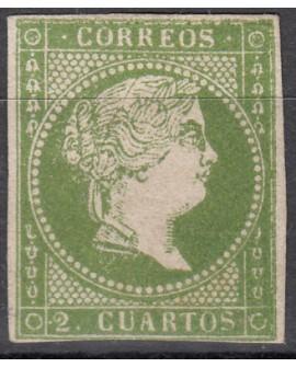 España 1856 Isabel II 2 cu verde sin filigrana Certificado Comex Edifil Nº 47 Home