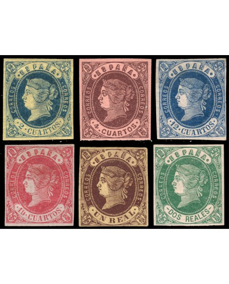 España 1862 Isabel II Edifil del Nº 57 al 62. CERTIFICADO Autenticidad CMF Home