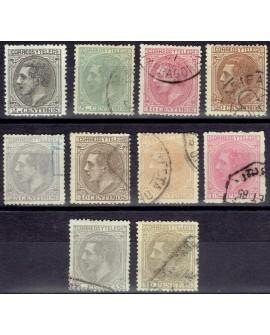 España 1879 Alfonso XII Edifil del Nº 200 al 209. Serie completa Buen centraje