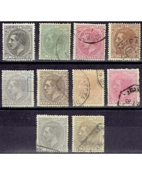 España 1879 Alfonso XII Edifil del Nº 200 al 209. Serie completa Buen centraje Home