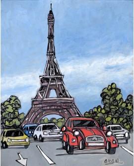 Jose Alcala: Paris y Citroen 2 CV. Cuadro de Comic Urbano Moderno