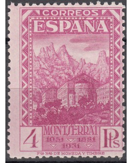 España 1931 Monasterio Montserrat 4 pts lila Edifil Nº 647 Dictamen CMF.