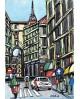 Alcala: Vespa en Calle Toledo de Madrid. Cuadro Comic Pintura Moderna Home
