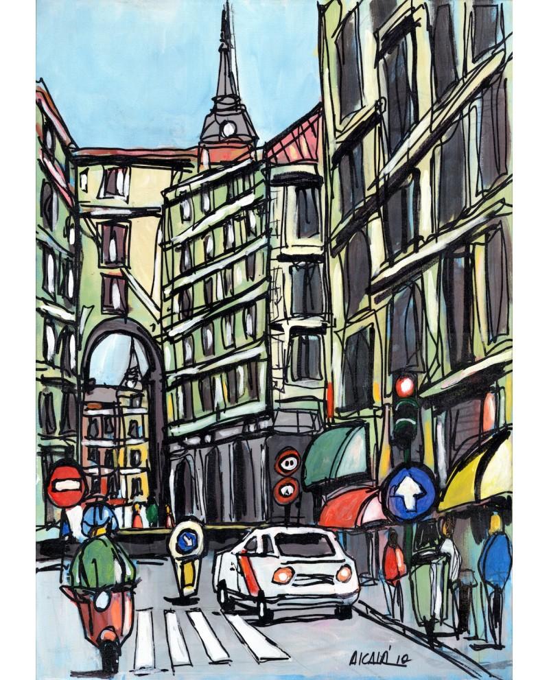 Alcala: Vespa en Calle Toledo de Madrid. Cuadro Comic Pintura Moder...