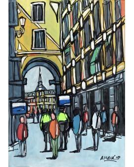 Alcala: Callejon de Plaza Mayor de Madrid. Cuadro Comic Pintura  Moderna