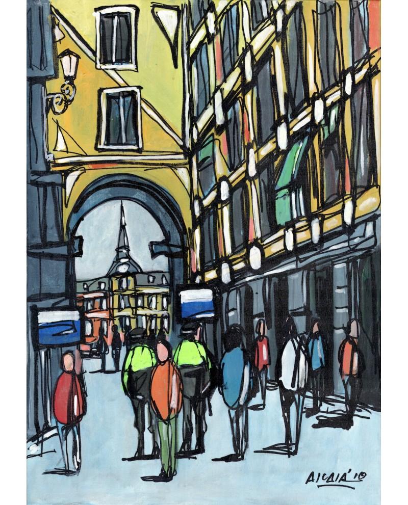Alcala callejon de plaza mayor de madrid cuadro comic for Cuadros guapos