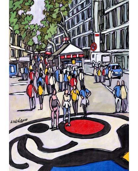 Jose Alcala: Barcelona, Las Ramblas con Miro. Cuadro de Comic Urbano Home