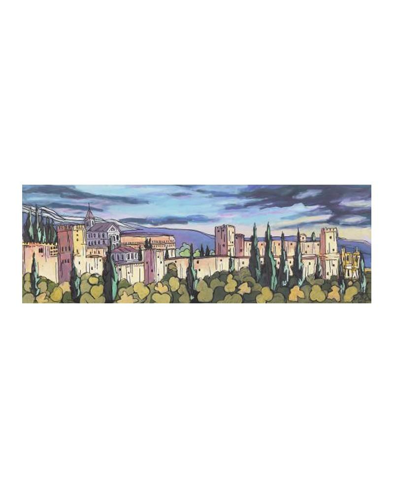 Jose alcala castillo la alhambra de granada cuadro naif for Cuadros horizontales modernos