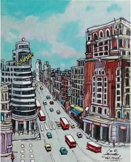 Alcala Madrid Gran Via Vertical Pintura Naif Española pintura giclee