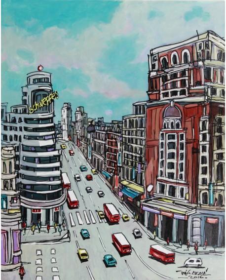 Alcala Madrid Gran Via Vertical Pintura Naif Española pintura giclee Home