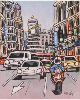 Alcala Velocidad en moto en Gran Via Pintura Naif Española pintura giclee