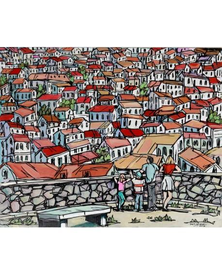 Alcala Pueblo Blanco Español Mijas pintura giclee española naif Home